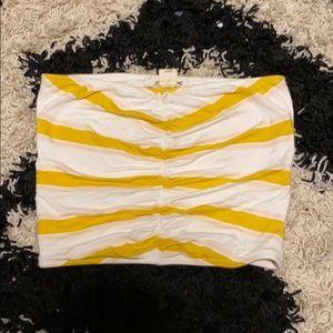 yellow/white stripes tube top